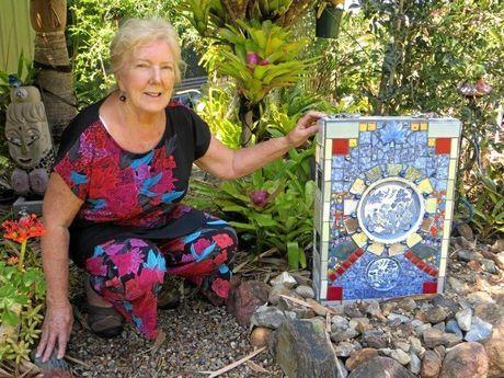 Gwen Smithers in her garden.