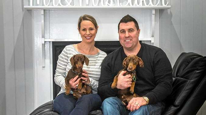 NEW CAREER: Brett Baker, his wife Kristy and their dogs Rambo and Sizzle love life in Toowoomba after Brett snapped up a new managing director job.