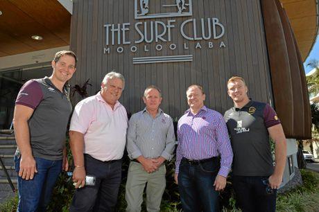 Mooloolaba Surf Club. Ex-Broncos player Jack Reed will be the club's Sunshine Coast manager. (LtoR) Paul Dyer, John Connolly, Ken Webb, Dennis Watt and Jack Reed.