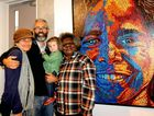 Rene Bahloo, Jandamarra and Nunyara Cadd with Christine Nabobbob at the official opening of the Sunshine Coast Art Prize 2016 at Caloundra Regional Gallery. P
