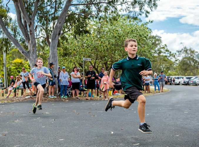 LEAPS AND BOUNDS: Tyler Edwards from 12 and under boys team representing Victory College at Tin Can Bay last Friday.