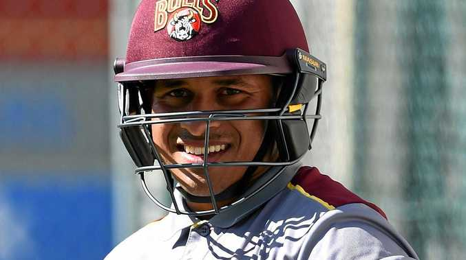 Usman Khawaja during a Queensland Bulls training session at the Gabba.