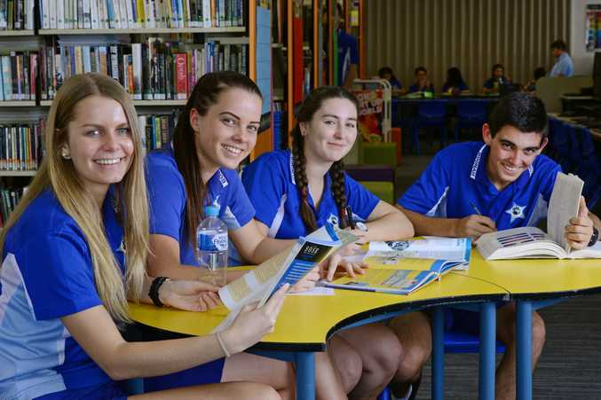 Boonah State High School students from left, Tahlia Wilson, Tess Wimmer, Natalie Milligan and Luke Pressler cram in some last minute study leading into their final exams.