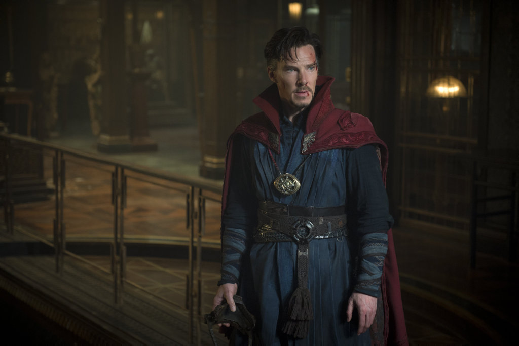 Benedict Cumberbatch in a scene from the movie Doctor Strange.