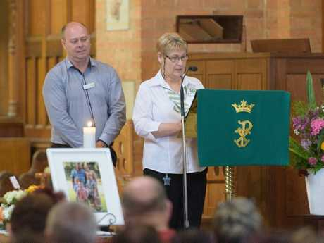Gay Ebeling from Woolworths speaks at the funeral of Jodie Spears.