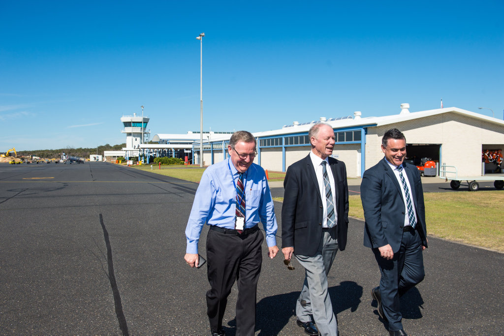 Dennis Martin with Member for Coffs Harbour Andrew Fraser and Deputy Premier John Barilaro.