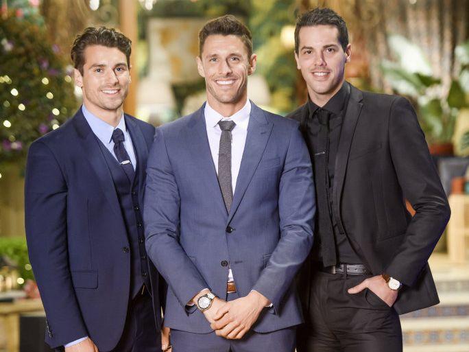 The Bachelorette finalists, from left, Matty Johnson, Lee Elliott and Jake Ellis.