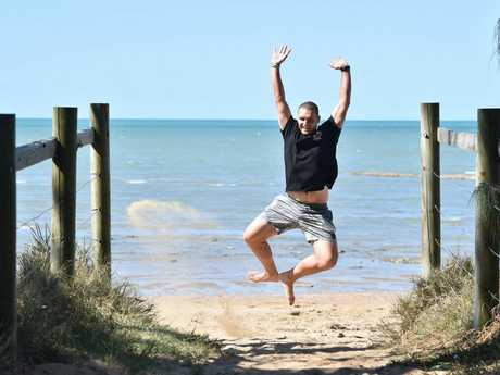 Hervey Bay pilot Troy Geltch - jumping for joy at his weight loss journey.