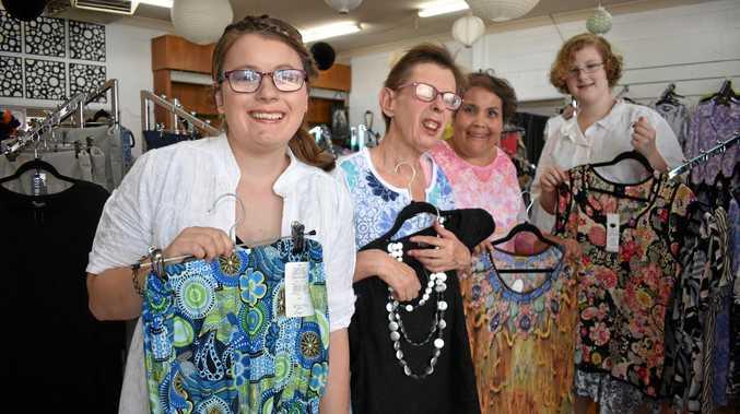 Amanda Gradwell, Shirley Johnson, Cheryl Martin and Leah Pascoe with some of the fashion from Amanda's Choice.