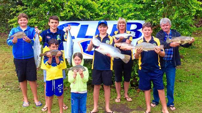TEAM EFFORT: Group weigh in at the Treehouse Tavern Family Fishing Club October competition held over the weekend.