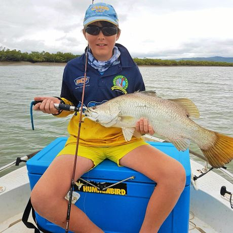 Brendan Reed caught this barramundi in Coorooman Creek during the Treehouse Tavern Family Fishing Club comp.