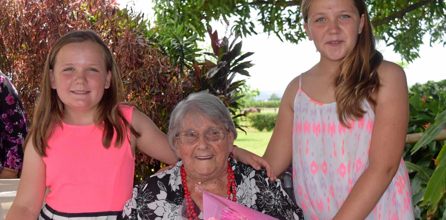 MILESTONE: Ivy Exoll with great grandchildren Summer and Mattilda Mccabbin.