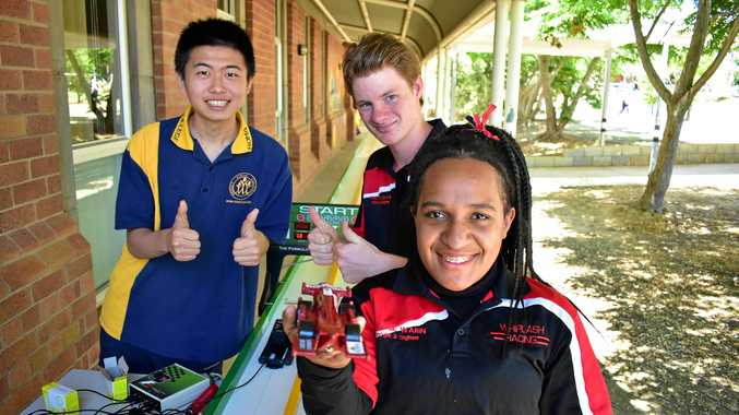 IN FINE FORM: Roma State College F1 in Schools team Whiplash Racing, made up of Wenbo Li, Matt Reynolds and Quinnie Warin, have beaten a side that had previously been at the Nationals at the most recent State Titles in Toowoomba earlier this month.