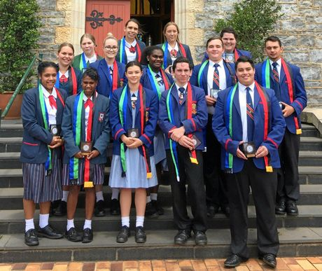 Diocese of Toowoomba Catholic Schools celebrated the graduation of 12 aboriginal and Torres Straight Islander graduates. Celebrating the graduation mass are (back, from left)  Amy Gale from Assumption College, Sophie Brown of St Saviour's College, Mia Wright of St Saviour's College, Brenda Bottrell from Downlands College, (middle, from left), Chelsea Smith from St Saviour's College, Ashlyn Jones, Jennifer Hobson, Kurt Wilson and Dale Haley of Downlands College (front, from left) Shelica Elara of St Saviour's College, Brenda Aden from St Saviour's College, Courtney Connor, Jacob Currie and John Davidson from Downlands College