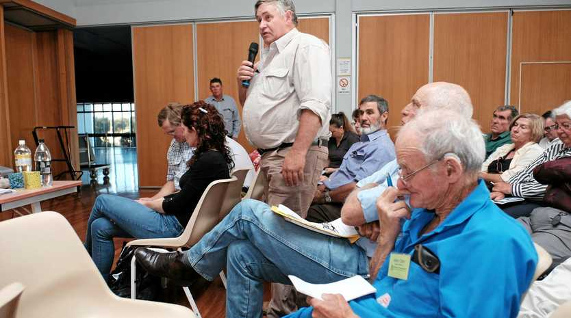 Former Property Rights Australia chairman and local landholder Dale Stiller asks a question of the CTSCo representatives at an information session in Wandoan in 2016.