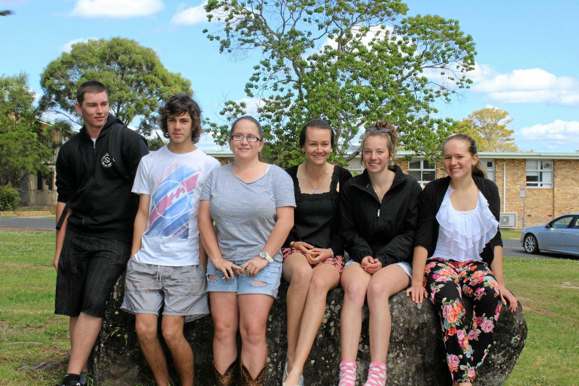 STUDY MODE: Woodenbong Central School students Curtis Flint, Nick Easton, Casey Smith, Billie Reid, Brooke Byrns and Madeleine Barrett.