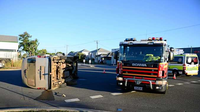June 4 crash at the corner of Bolsover and Stanley St. The van rolled to its side Photo Trinette Stevens / Morning Bulletin