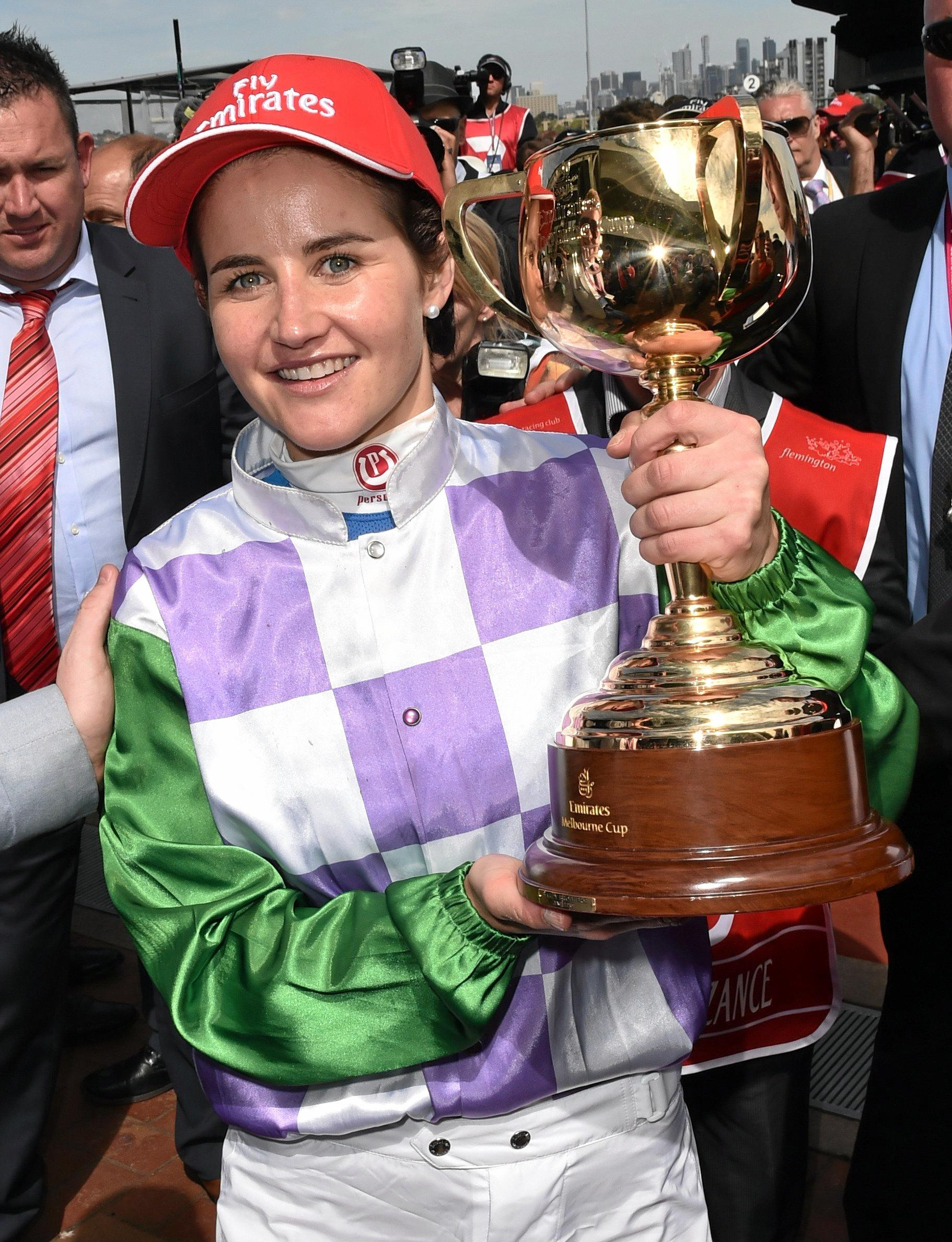 Michelle Payne celebrates after winning the Melbourne Cup on Prince of Penzance at Flemington last year.