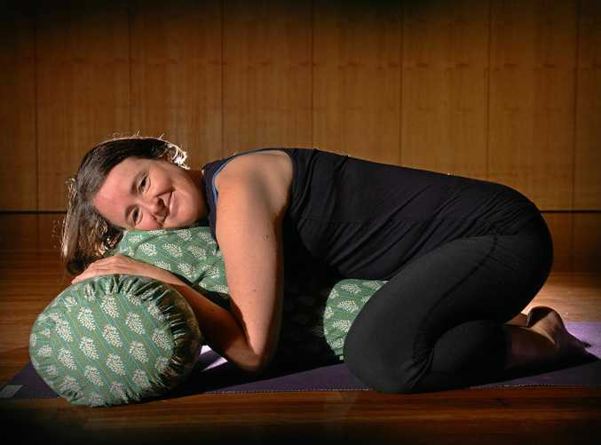 Restorative yoga teacher Marian Cavanagh is promoting the 10th annual YogaFest which will be held at the Lake Kawana Community Centre.