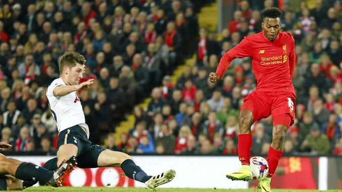Liverpool's Daniel Sturridge takes a shot during the English League Cup match against Tottenham Hotspur at Anfield.