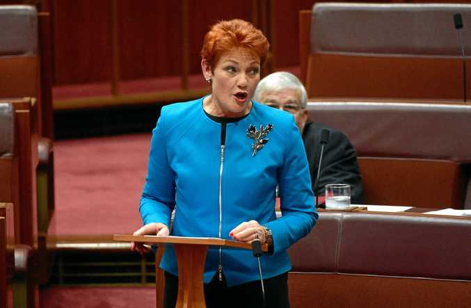 One Nation leader Senator Pauline Hanson makes her maiden speech in the Senate at Parliament House in Canberra, Wednesday, Sept. 14, 2016. (AAP Image/Mick Tsikas) NO ARCHIVING