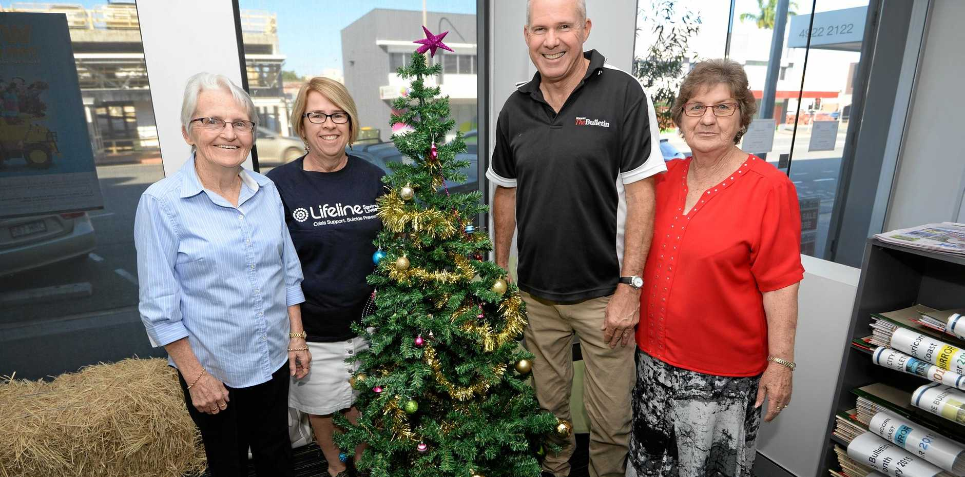 TIS THE SEASON: Barb Cavanagh (St Vincent De Paul), Julie Elliott (Lifeline), Frazer Pearce (Morning Bulletin) and Diana Wode (Anglicare) are calling on people to Adopt a Family this Christmas.