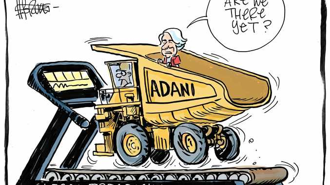 Senators Murray Watt and Matt Canavan both support the Adani coal mine, but have differing views on the legal challenges which have stalled the project. File cartoon.