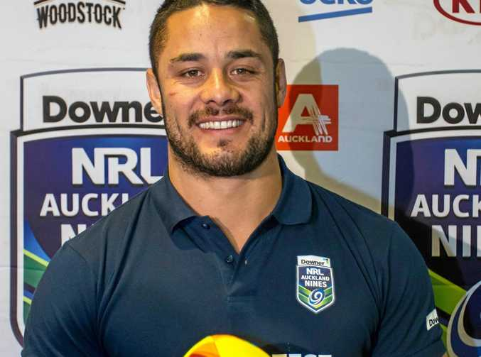 Jarryd Hayne at a press conference to announce he will be playing in the Auckland Nines next year.