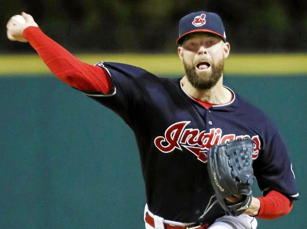 Corey Kluber of the Cleveland Indians in game one of the World Series against the Chicago Cubs at Progressive Field in Cleveland.