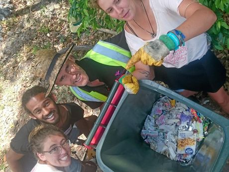 Chris Goldsworthy, from Part Bins, with volunteers who helped collect and sort waste at Wanderlust.