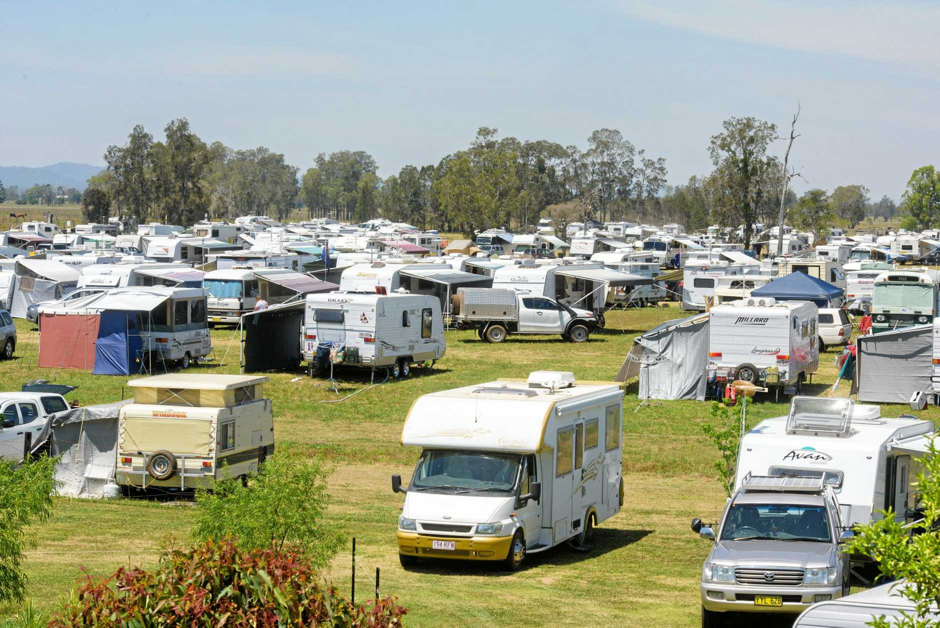 A small part of the caravan city at Wendy Gordon's Calliope property for the Clarence Valley Country Music Muster.