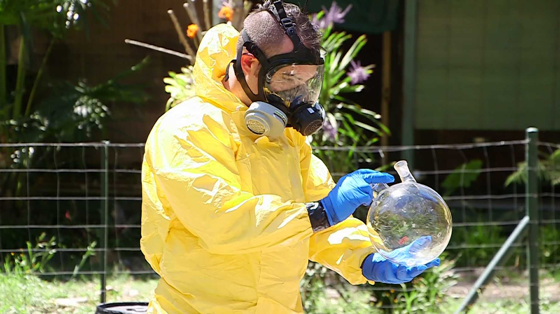 Police allegedly uncovered a meth lab and illegal guns in raids on adjoining properties at Thora today.