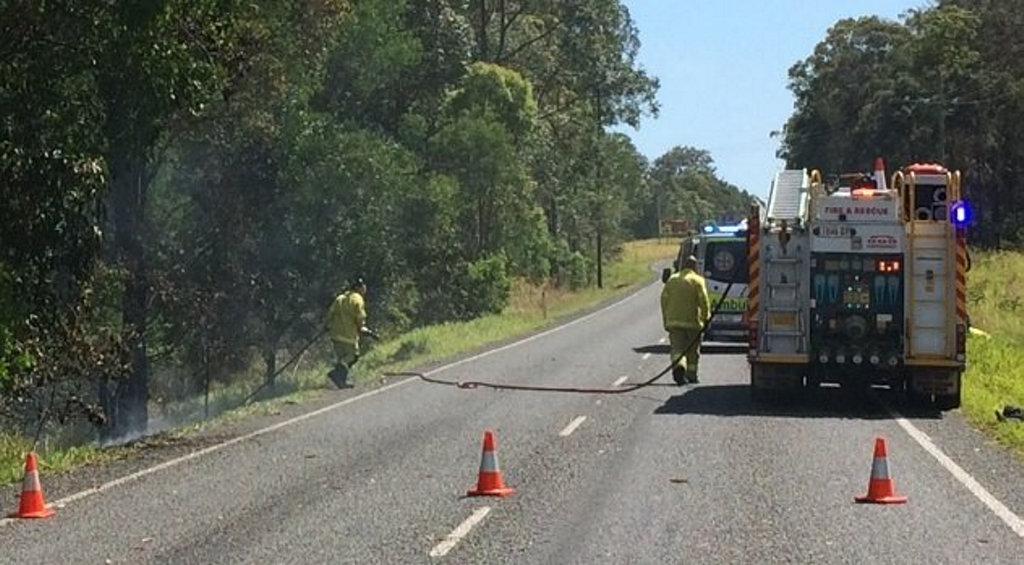 Emergency crews attending a crash on Tin Can Bay Rd on Thursday morning.