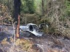 A car caught fire on Tin Can Bay Rd on Thursday morning.