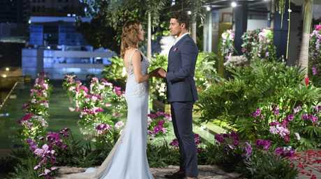 Georgia Love and Matty Johnson in a scene from The Bachelorette finale. Supplied by Channel 10.