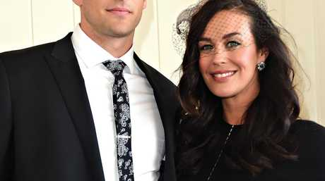 Megan Gale and Shaun Hampson at the Swiss marquee in the Birdcage on Derby Day at Flemington Racecourse in Melbourne, in 2014.