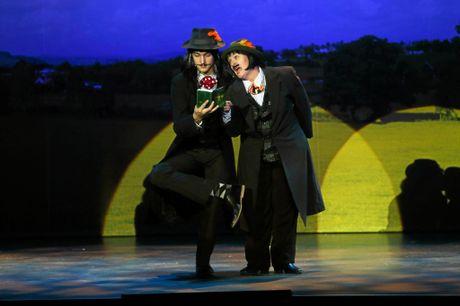ACTING ENGLISH: Austin Burrows and Kaylene Adams as bumbling spies Boris and Goran.