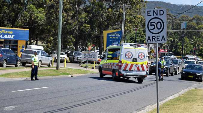 PEDESTRIAN HIT: Paramedics and police attend an incident where a pedestrian was hit by a vehicle on Orlando St, Coffs Harbour. October 27