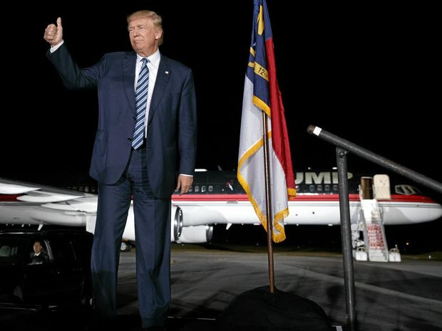 Republican presidential candidate Donald Trump arrives at a campaign rally in Kinston, North Carolina.