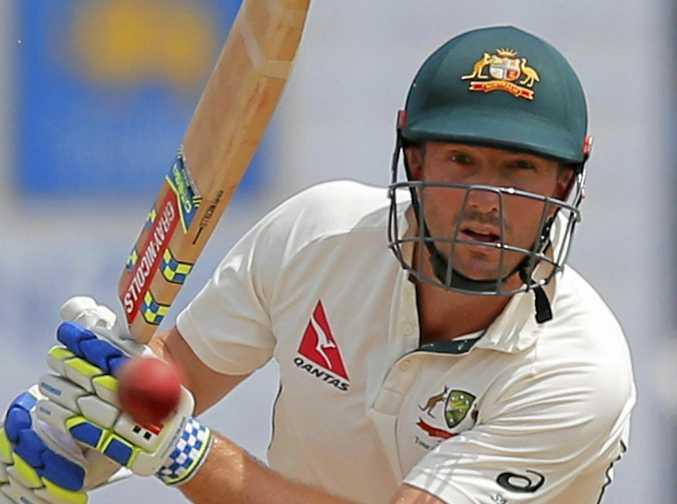 Australia's Shaun Marsh watches his shot during the third Test against Sri Lanka in August.