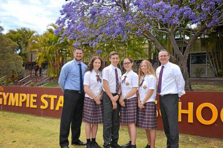 SCHOOL LEADERS: Deputy principal Damon Rehbein with senior leaders for 2017, Ella Findlay, Zachary Nicoll, Matilda Clark, Ann Cleary and principal Anthony Lanskey.