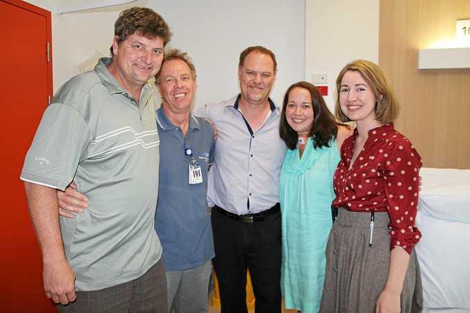 WITH THANKS: Jeff Bellert, Dr David Austin, Dr Jaco Poggenpoel, Kate Bellert, Amanda Nugent, as Kate leaves Rockhampton Hospital.
