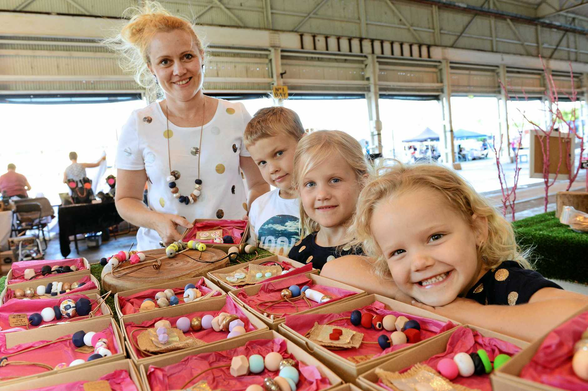The Museum Twilight Markets at The Workshops Rail Museum. Pictured are Nadine Beckhouse of Pink Woods with Noah, 9, Reeve, 7, and Isla, 5.