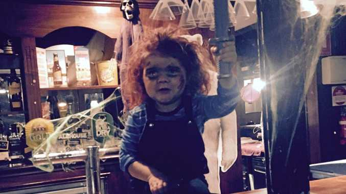 HALLOWEEN: Sloane Bridges dressed as Chucky at O'Dowds Irish Pub, one of the local venues offering some spooky specials this weekend.