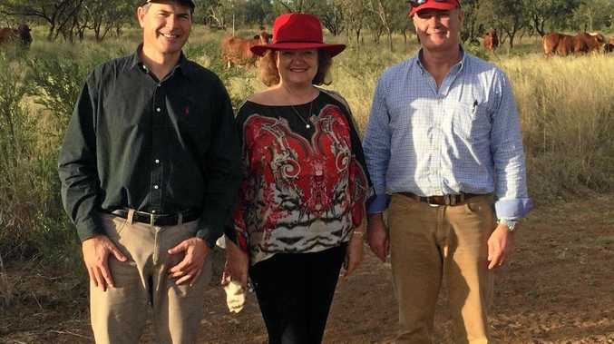 Hancock Prospecting owner Gina Rinehart with company CEO Garry Korte (left) and the General Manager of Cattle Scott Richardson.