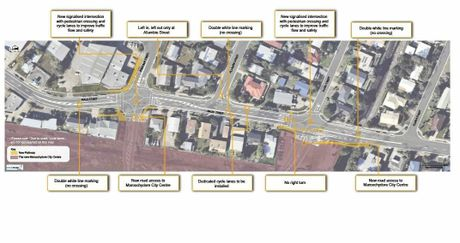 A map from the Sunshine Coast Council's website showing changes along Maud St, Maroochydore.
