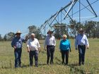 From left, Alton Downs farmer Ian Lovegrove, Flynn MP Ken O'Dowd, Prime Minister Malcolm Turnbull, Capricornia MP Michelle Landry and Deputy Prime Minister Barnaby Joyce visit Rockhampton