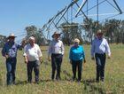 From left, Alton Downs farmer Ian Lovegrove, Flynn MP Ken O'Dowd, Prime Minister Malcolm Turnbull, Capricornia MP Michelle Landry and Deputy Prime Minister Barnaby Joyce visit Rockhampton