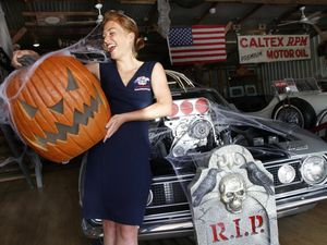 Witches, pumpkins and classic cars for Halloween car show