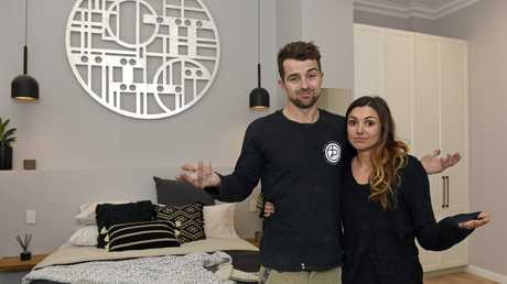 Will and Karlie pictured in their guest bedroom in The Block's challenge apartment.